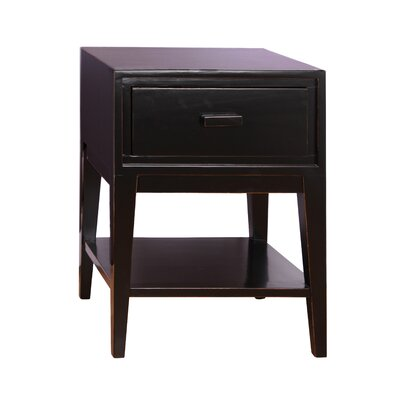 Enid 1 Drawer Nightstand Color: Black
