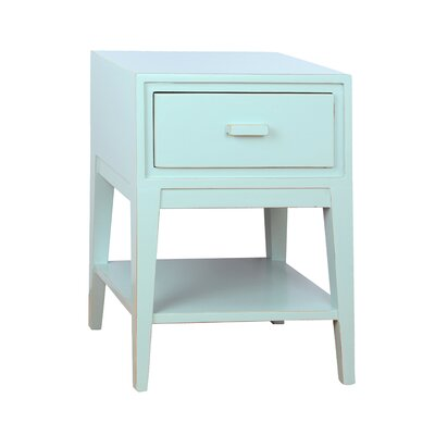 Enid 1 Drawer Nightstand Color: Aqua