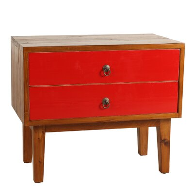 Marina End Table With Storage� Color: Red