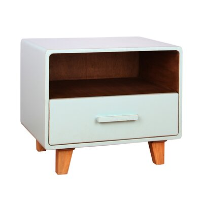 Cleo 1 Drawer Nightstand Color: Aqua