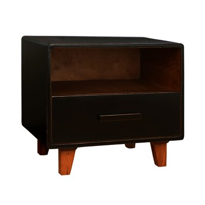 Cleo 1 Drawer Nightstand Color: Black