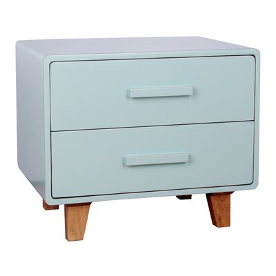 Juniper 2 Drawer Nightstand Color: Aqua