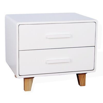 Juniper 2 Drawer Nightstand Color: White