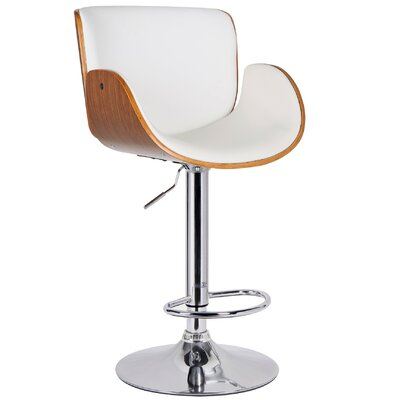 Adjustable Height Swivel Bar Stool Upholstery: Flat White