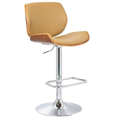 Adjustable Height Swivel Bar Stool Upholstery: Natural