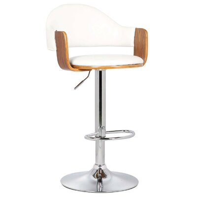Yvonne Adjustable Height Swivel Bar Stool Color: White