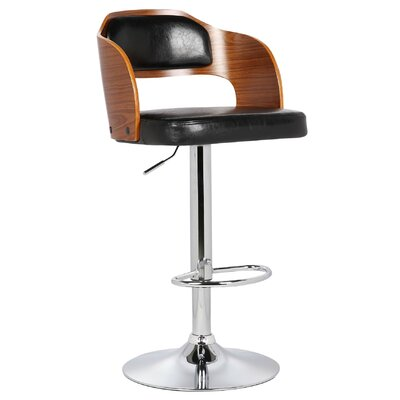 Fleur Adjustable Height Swivel Bar Stool Color: Black