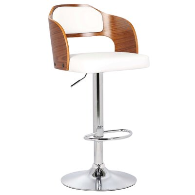 Fleur Adjustable Height Swivel Bar Stool Color: White