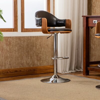 Yvonne Adjustable Height Swivel Bar Stool Color: Black