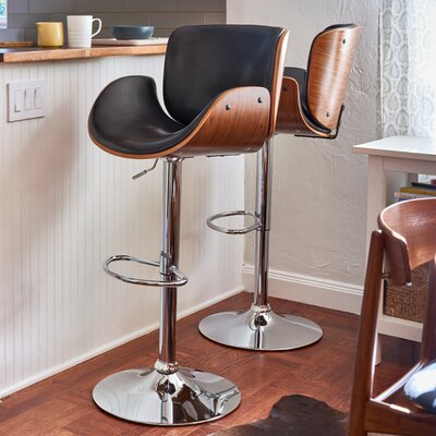 Adjustable Height Swivel Bar Stool Upholstery: Polished Obsidian