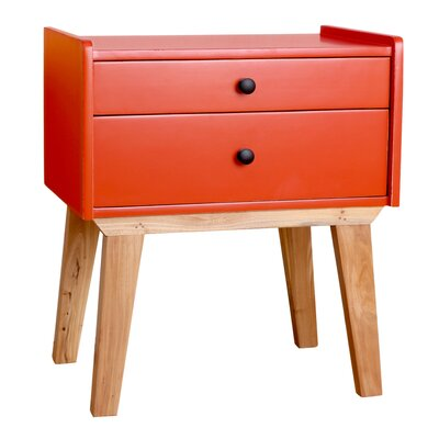 Kathryn End Table Color: Red/Orange