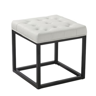 Delia Ottoman Upholstery: White Faux Leather