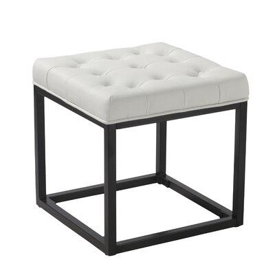 Delia Ottoman Upholstery: White Faux Leather