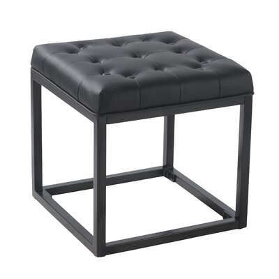 Delia Ottoman Upholstery: Black Faux Leather