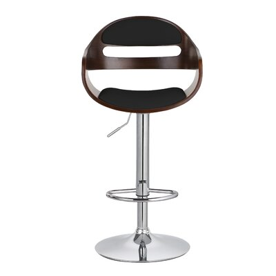 Carlos Upholstered Adjustable 32.9 Swivel Bar Stool Upholstery: Black