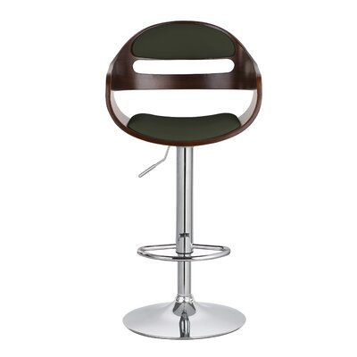 Carlos Upholstered Adjustable 32.9 Swivel Bar Stool Upholstery: Green