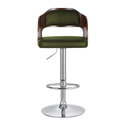 Philip 33.7 Swivel Bar Stool Upholstery: Green