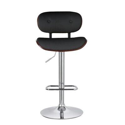 Douglas Button-Tufted 35 Swivel Bar Stool Upholstery: Black