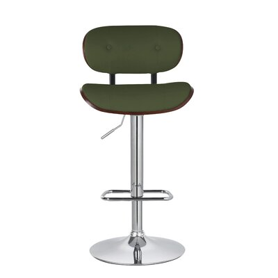 Douglas Button-Tufted 35 Swivel Bar Stool Upholstery: Green