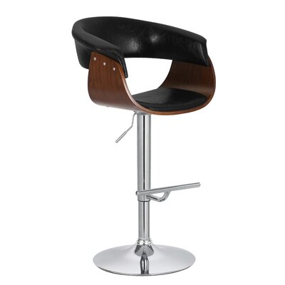 Ian Adjustable 33 Swivel Bar Stool Upholstery: Black