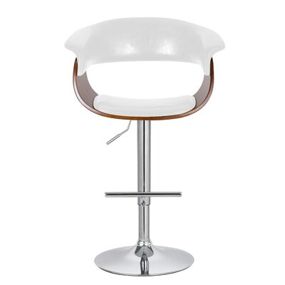 Ian Adjustable 33 Swivel Bar Stool Upholstery: White