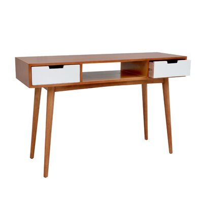 Console Table Finish: Brown/White