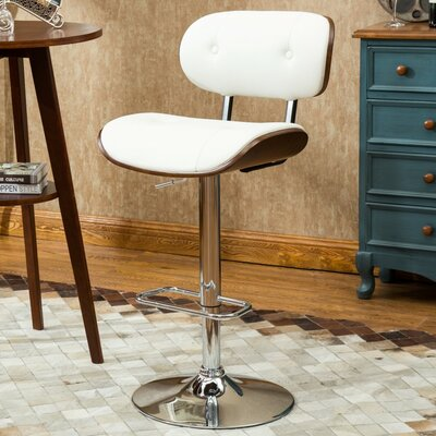 Douglas Button-Tufted 35 Swivel Bar Stool Upholstery: White