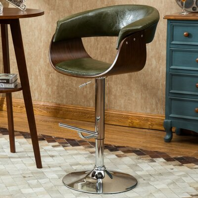 Ian Adjustable 33 Swivel Bar Stool Upholstery: Green