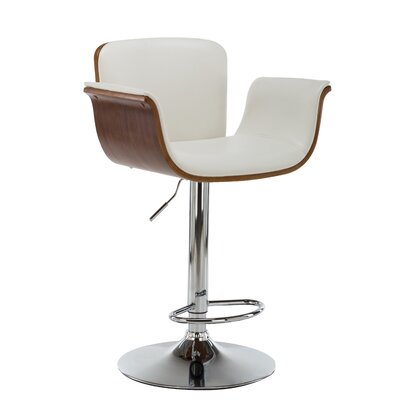 Johnathon Adjustable Height Swivel Barstool Upholstery: White