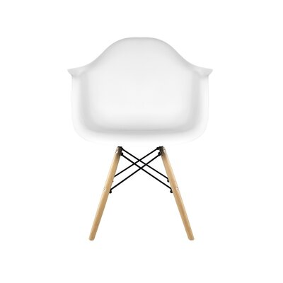 Libby Mid-Century Solid Wood Dining Chair Finish: White