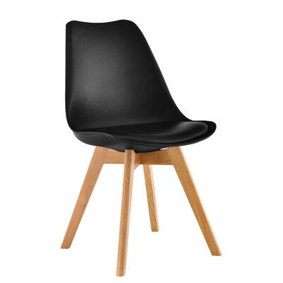 Elle Solid Wood Dining Chair Color: Black