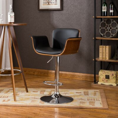 Johnathon Adjustable Height Swivel Barstool Upholstery: Black