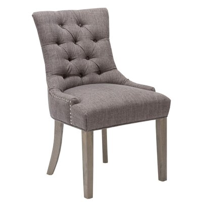 Caribe Nailhead Upholstered Dining Chair Upholstery Color: Grey
