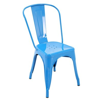 Feeney Stackable Indoor and Outdoor Rust-Resistant Metal Dining Chair with Back Color: Blue