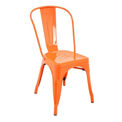 Feeney Stackable Indoor and Outdoor Rust-Resistant Metal Dining Chair with Back Color: Orange