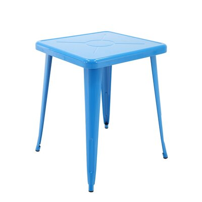 Feliz Indoor and Outdoor Rust-Resistant Metal Restaurant Coffee Table Color: Blue