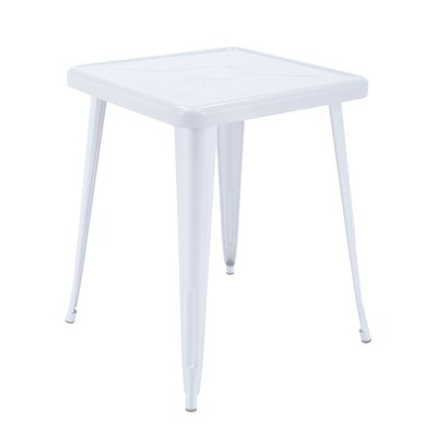 Feliz Indoor and Outdoor Rust-Resistant Metal Restaurant Coffee Table Color: White