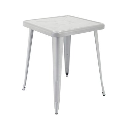 Feliz Indoor and Outdoor Rust-Resistant Metal Restaurant Coffee Table Color: Silver