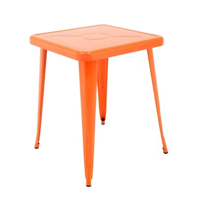 Feliz Indoor and Outdoor Rust-Resistant Metal Restaurant Coffee Table Color: Orange