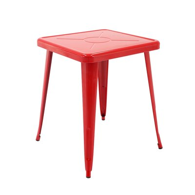 Feliz Indoor and Outdoor Rust-Resistant Metal Restaurant Coffee Table Color: Red