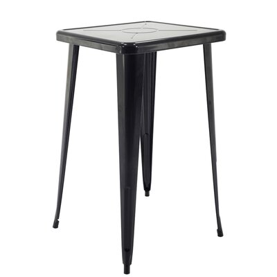 Felker Indoor and Outdoor Rust-Resistant Metal Bar-Height Dining Table Color: Black