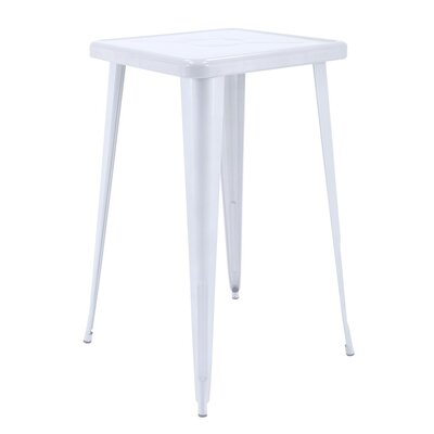 Felker Indoor and Outdoor Rust-Resistant Metal Bar-Height Dining Table Color: White