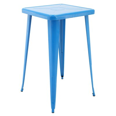 Felker Indoor and Outdoor Rust-Resistant Metal Bar-Height Dining Table Color: Blue