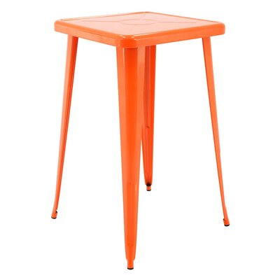 Felker Indoor and Outdoor Rust-Resistant Metal Bar-Height Dining Table Color: Orange