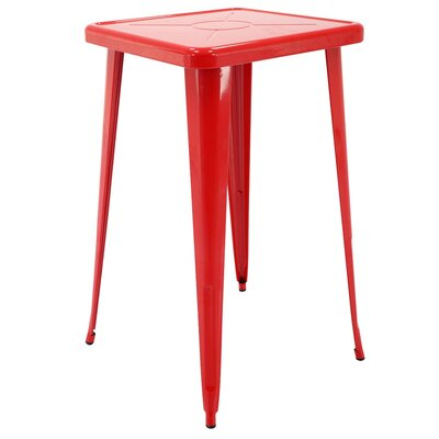 Felker Indoor and Outdoor Rust-Resistant Metal Bar-Height Dining Table Color: Red
