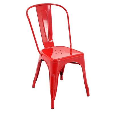 Feeney Stackable Indoor and Outdoor Rust-Resistant Metal Dining Chair Color: Red