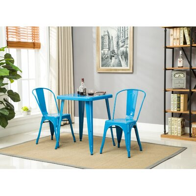 Feeney Stackable Indoor and Outdoor Rust-Resistant Metal Dining Chair Color: Blue