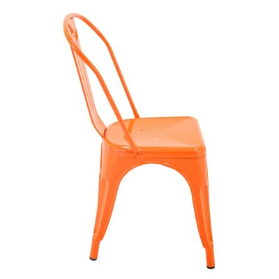Feeney Stackable Indoor and Outdoor Rust-Resistant Metal Dining Chair Color: Orange