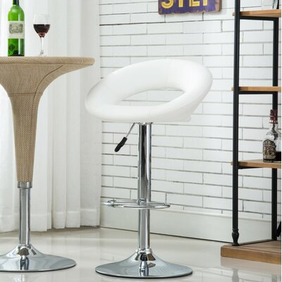 Bathford Adjustable Height Swivel Bar Stools Color: White