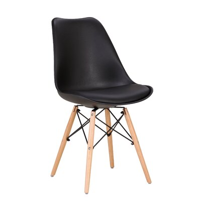 Jenkin Upholstered Dining Chair Upholstery Color: Black